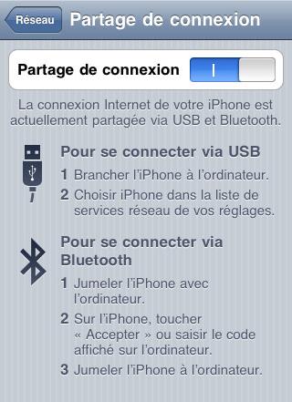 Partage de connexion 3G sous iOS
