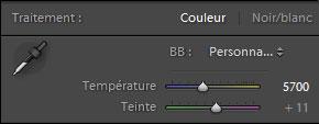 Réglage de la température de couleur sur Lightroom