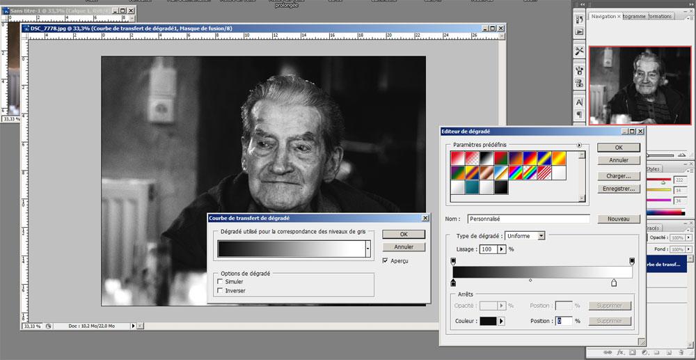 """L'outil """"courbe de transfert de dégradé"""" de Photoshop"""