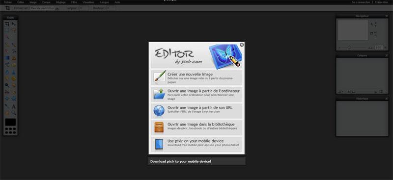 Le logiciel Pixlr