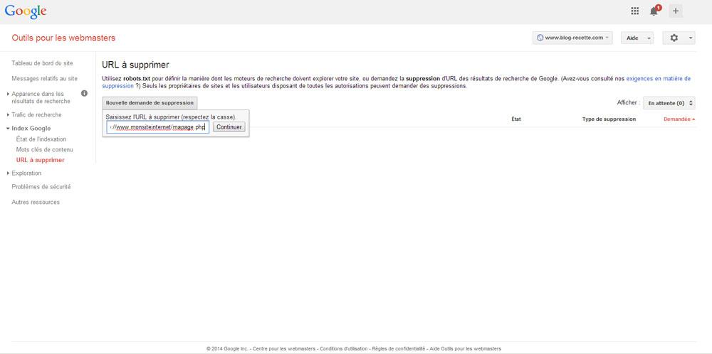L'outil de suppression d'url de Google