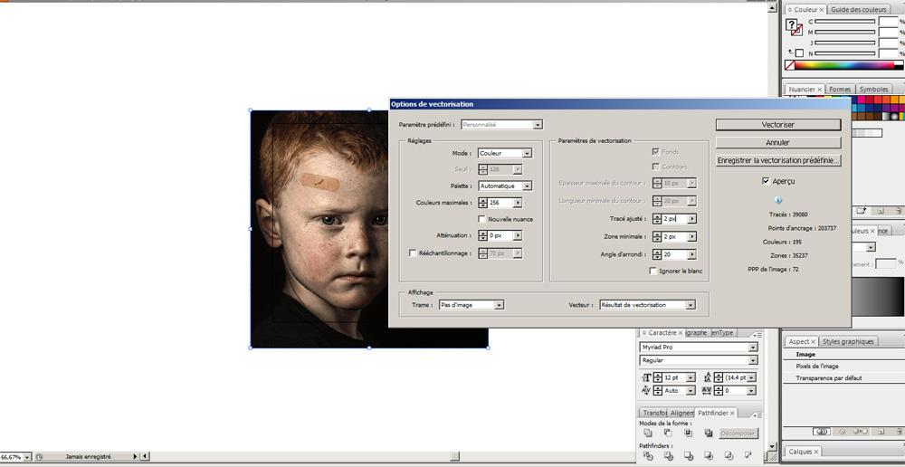 La fenêtre de l'outil vectorisation d'illustrator CS3